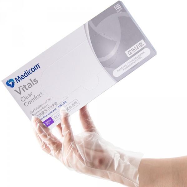 Medicom/麥迪康一次性餐飲CPE薄膜透明手套