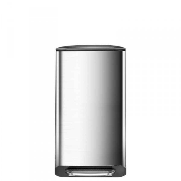 35L鋼色大鋼桶不銹鋼腳踏式廚房垃圾桶