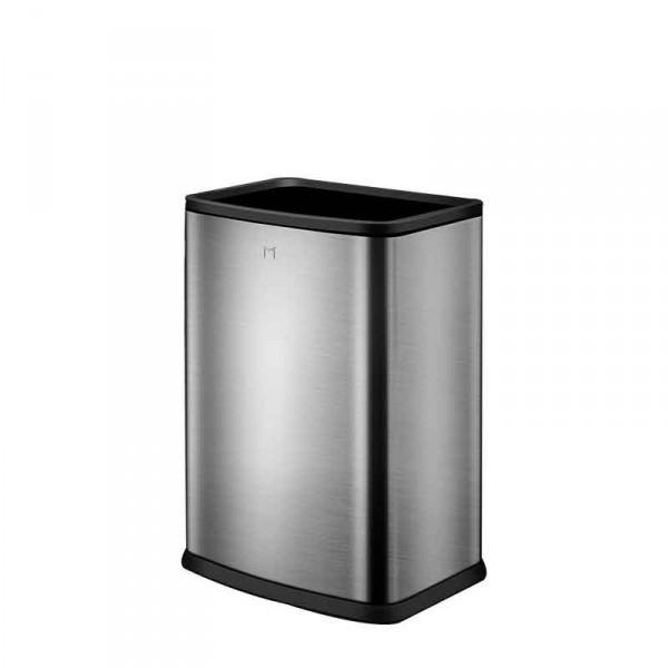 40L鋼色長方形無蓋簡約輕奢垃圾桶