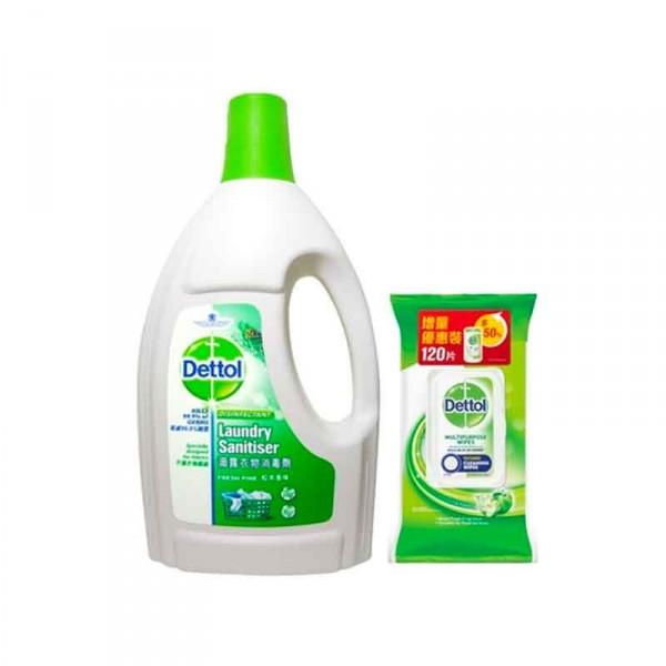 滴露 - 松木衣物消毒劑1.2升加消毒清潔濕紙巾青蘋果味120片 1袋