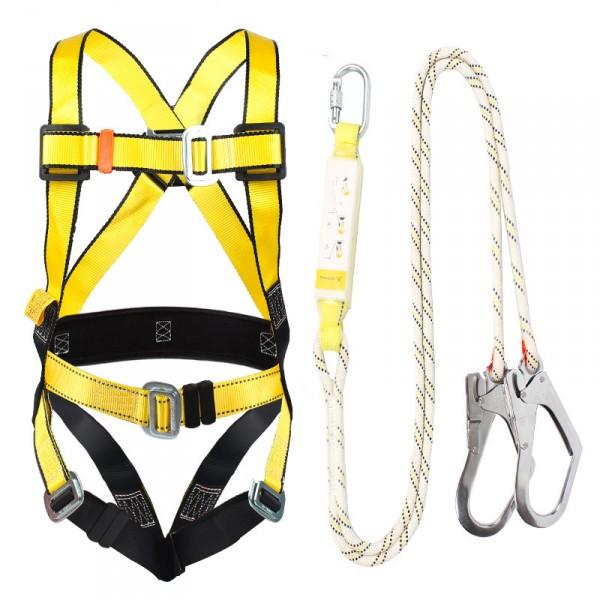 JOHA緩衝歐式全身五點式高空作業保險帶滌綸雙大鉤防墜落安全帶
